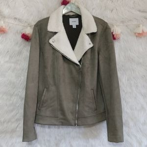 Old Navy Sherpa collar faux suede Moto jacket tall